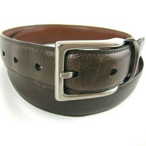 COLE HAAN Brown Texture Leather Belt 36 Buckle